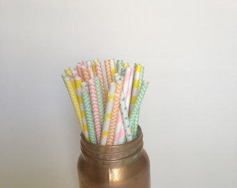 Pastel paper straws / peach, mint, pink, yellow, lite blue, Paper Straws/ Party Straws / party supplies/