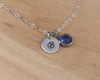 Personalized Necklace Initial Birthstone Sterling Silver Charm Necklace Personalized Mother Jewelry with 1-2-3-4 Birthstone Gift for Mom