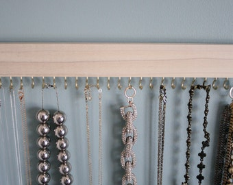 natural wood hanging necklace display rack / organizer with either gold (brass) or silver (nickel) hooks