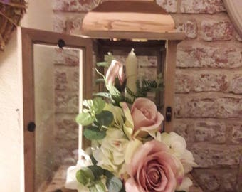 Vintage Wedding Centrepiece with Dusky Pink/Green Roses in Copper Lantern