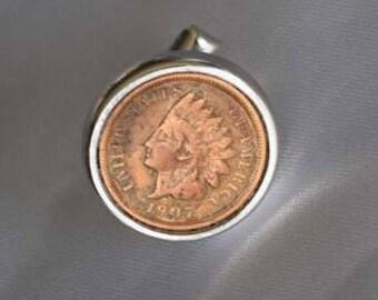 1907 Indian Head Penny Single Cufflink in Silvertone Metal