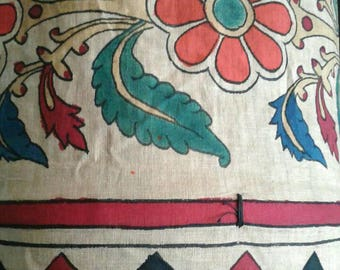 Large Indian Windsock Flag Ceremonial Decoration Hand Painted Vintage Muslin Cotton Fabric Hanging Art Tube Wedding Fertility Graphic Tribal