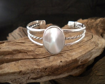 Mother-Of-Pearl Sterling Silver Bracelet Cuff Bracelet HandcraftedSWDesigns