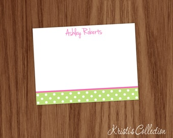 Girls Personalized Polka Dot Flat Note Card Set - Girls Personal Stationery Stationary - Girls Thank You Notes Notecards