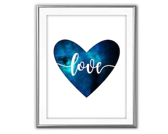 SALE-Galaxy Heart Love-Digital Print-Wall Art-Digital Designs-Home Decor-Gallery Wall- Quote Prints-Typography-Blue Galaxy-Heart Printable