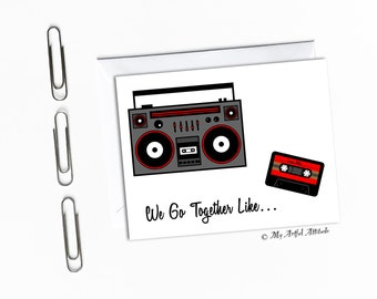 Old School Music Card, Boyfriend Birthday Or Valentines Card, We Go Together Like, Mixtape, BoomBox