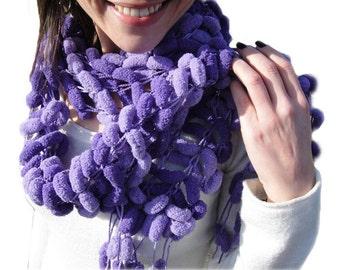 Purple Hand Knit scarf Pom Pom Lightweight