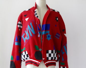 80s red cardigan. Pop Art wool cardigan. 80s cardigan. Comic sweater. Vintage red cardigan. Red button down. Kawaii
