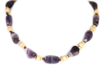 Amethyst necklace purple and beige