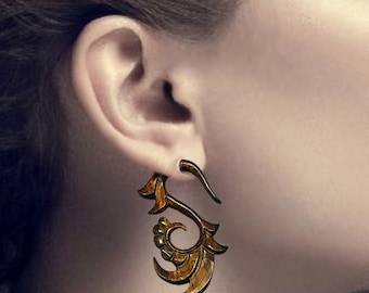 Fake Gauges Earrings - Sofial Curls - Tropical Tan Wood - W02
