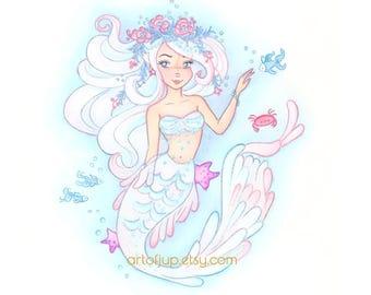 Mermaid print, home decor, wall art, watercolor art , Angel fish mermaid