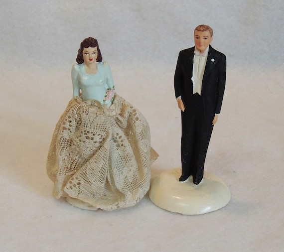 Vintage 1940's Chalkware Wedding Cake Topper Bride & Groom.. Coast Novelty