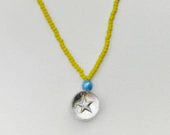 Yellow short Reversible necklace