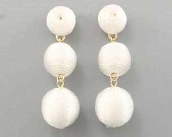 3 Ball Baby BonBon Drop Earrings