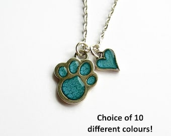Paw Print Necklace with Heart Charm, Cat Paw Necklace, Dog Paw Pendant, Dog Lover Gift, Dog Mom, Cat Lover, Animal Lover - Choose Colours