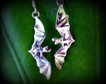 Little Flying Sterling Silver Bat Drop Earrings in Sterling Silver Eco-Friendly Halloween Jewelry Bat Jewelry