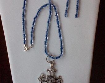 Beaded Necklace with Celtic Cross Charm plus Earrings - Item 2017-43