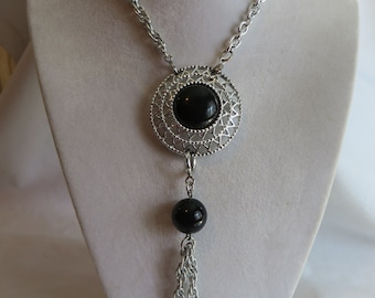 "32"" Vintage Sarah Coventry Jet Set Silvertone with Cabochons Necklace, Pin, Jet, Silvertone, Sarah Coventry, Black Beads"