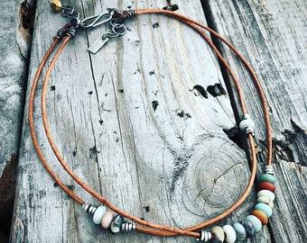 Sterling Silver Leather Necklace Handmade By Wild Prairie Silver Jewelry Artist Joy Kruse