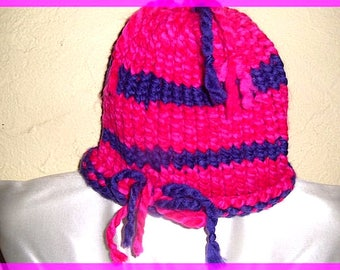 Adult wool cap hat in pink and purple knitted colors