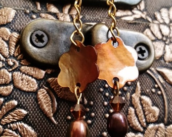 Clearance Sale - Brown Flower Earrings, Swarovski, Freshwater Pearl and Mother of Pearl