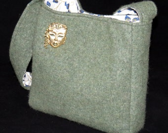 FELTED GREEN WOOL Cashmere Purse / with Vintage Asian Drama Mask/Face Pin (ooak) / Upcycled Green Cashmere  sweater/ Eco Friendly Gift #028