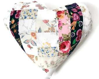 """Country Chic Floral 14"""" Handmade Stuffed Heart Cushion / For the home / Home Decor / Throw Pillow / Modern Pillow"""