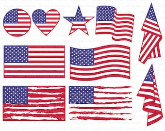 American flag SVG, Distressed USA Flag svg, Patriotic design American flag SVG files for Silhouette Cameo and Cricut.  Clipart png included.