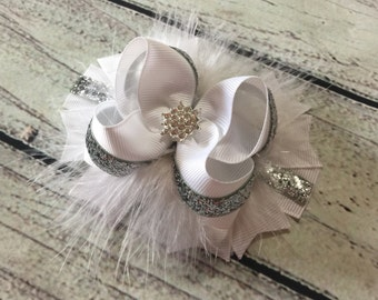 White and Silver Christmas Boutique Hair Bows , Snowflakes Hair Bow ,Christmas Hair Bow , Holiday Hair Bow, Silver and White Hair Bow
