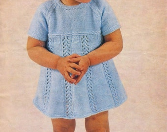 Knitting For Babies Patterns : Baby girl s cable dress knitting pattern instant download pdf