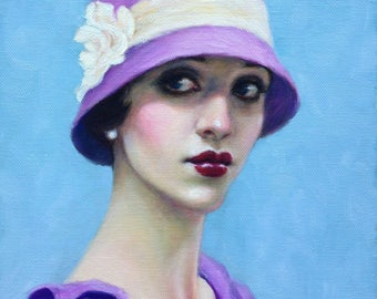 Portrait Painting, Flapper in Cloche Hat, Figurative, Original Oil, Beautiful Woman Painting, 1920's, Vintage Fashion, Pretty Girl Face