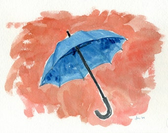 ORIGINAL Blue Umbrella - Watercolor Painting