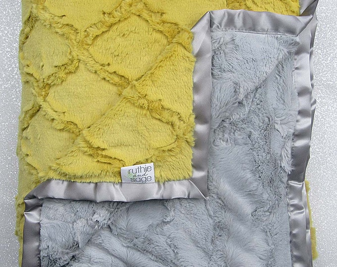 Minky Blanket, Baby Boy, Baby Girl, Unisex blanket, Plush blanket, Mustard Blanket, yellow and grey, Soft blanket, Blanket for adult, silver