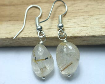 925 Sterling Silver Handmade Earrings Sterling Silver With Natural Golden Rutile Gemstone