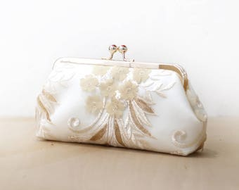 Ivory and Gold Sequins Petal Sakura Clutch, Embroidery Lace Purse, Holiday & Wedding Mother of the Bride Gift