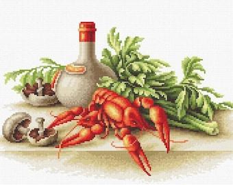 Still Life with crayfish SB2258 - Cross Stitch Kit by Luca-s