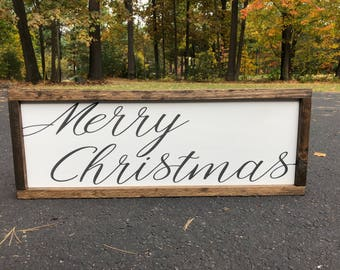 "Merry Christmas Wooden Sign 9"" X 24"""