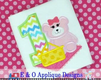 1 Picnic Girl Bear Digital Birthday Applique - Bear Birthday Machine Applique - Picnic Applique - Birthday Bear Applique Design