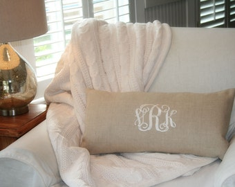 Monogram Pillow Cover, Wedding Gift, Nursery Decor, Monogram Linen Pillow Cover , Personalized Pillow Cover, Home & Living Decor by OhKoey