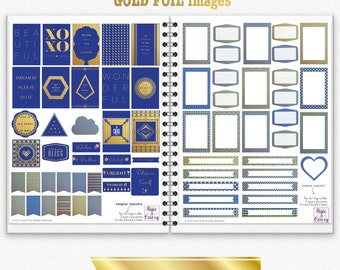 2 for 1 BLUE & GOLD FOIL Premium Digital Printable Planner Stickers / Labels / Journal Cards / Scrapbooking and Paper Crafts Prints