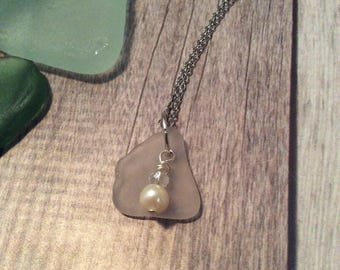 Frosted White Sea Glass With Pearl Necklace