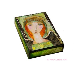 Looking After You - ACEO Giclee print mounted on Wood (2.5 x 3.5 inches) Folk Art  by FLOR LARIOS
