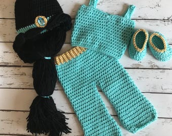 Princess Jasmine baby crochet outfit, Aladdin, babys first photos, newborn pictures, baby shower gift, baby girl, baby Halloween costume