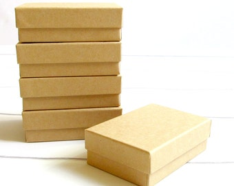 25 - 3 1/8 x 2 1/8 x 1 inch Brown Kraft Cotton Filled Jewelry Boxes-jewelry packaging,kraft jewelry boxes,brown kraft boxes, wedding favors