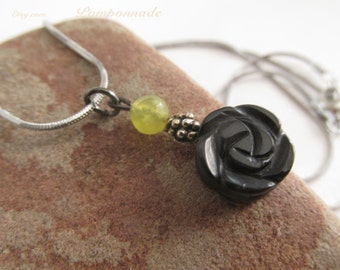 2527 - Black Rose and Jade Pendant
