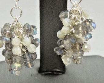 Blue Flash Labradorite & Silverite Rondelle Cluster Bead Sterling Dangle Ear