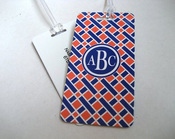 Luggage Tag - Navy Blue and Orange  Custom Monogram Luggage Tag PAIR - Personalized Luggage Tag - Navy Blue Travel Tag - Your Monogram