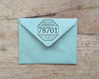 "Custom Octave Return Address Rubber OR Self-Ink Stamp 2"" or 2.5"""