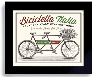 Italian Decor Bicycle Art Italy Art Bicycle Built for Two Tandem Bike Art Cycling Art Bicyclist Art Bike Enthusiast Italian Flag Bike Rider