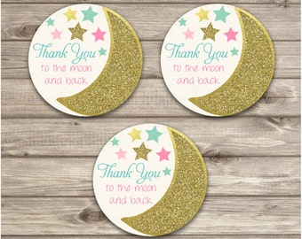 Thank You Circles Twinkle Twinkle Little Star Baby Shower Tags to the Moon and back Pink Gold Glitter Girl Party girl First Birthday
